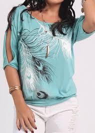 peacock blue cutout shoulder feather print t shirt rosewe com