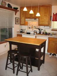 Kitchen Island Tables With Stools by Round Dark Brow Stained Pine Wood Bar Stools For Small Island