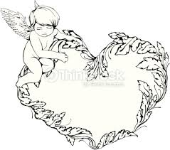 frame with angel and heart vector art thinkstock