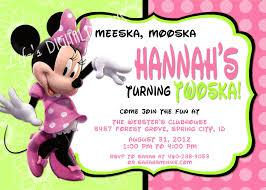 Birthday Invitation Card Sample Wording Minnie Mouse 2nd Birthday Invitations Plumegiant Com
