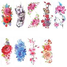 9 sheets temporary peony flower butterfly lotus cherry