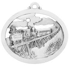 the railway to the moon personalized handcrafted pewter ornament