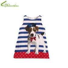 discount fashion dress children cute dog printed vest dress