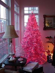 white tree pink lights decore