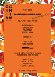 thanksgiving dinner menu at wheat at wheat healthy eatery fumin