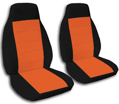 two tone car seat covers front semi custom black u0026 red yellow
