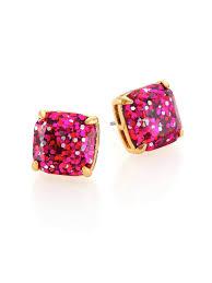 glitter stud earrings kate spade new york glitter square stud earrings fuschia in purple