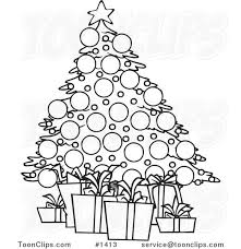 cartoon black and white outline design of a christmas tree and