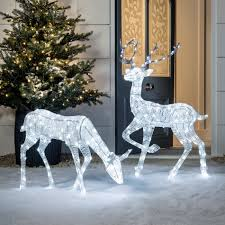 Glitter Reindeer Christmas Decorations by Glitter Reindeer Christmas Figure Duo Lights4fun Co Uk