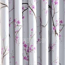 Pink And Grey Curtains Plum Flower Curtains Pink Plum Flower Pattern Grey Polycotton