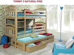 Bunk Bed For 3 Bunk Beds Wooden Children S Mattresses Storage White Pine