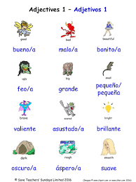 adjectives in spanish word searches 18 spanish adjectives