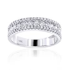 Circle Diamond Wedding Ring gold 1 carat round diamond wedding band for women by luxurman