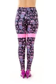 coco u0026 max pineapple leggings black fabric pink contrast