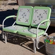 Patio Glider Bench Coral Coast Paradise Cove Retro Metal Outdoor Glider Loveseat