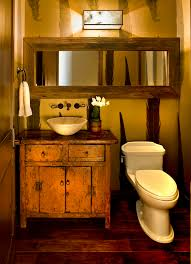 Powder Room Towels - barnwood mirror with wall mount faucet powder room rustic and
