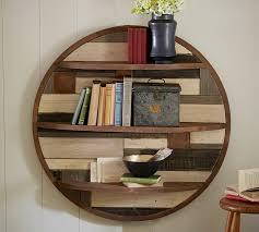 circular wood wall circular planked wood shelf pottery barn