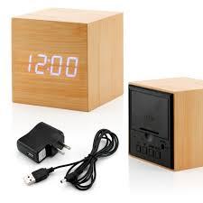 Wood Clock Ultra Modern Wooden Led Clock Square Cube Digital Alarm
