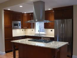 kitchen gray backsplash tile cabinets with granite countertops