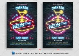 neon cocktail party flyer flyer templates creative market