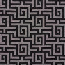 black and silver shiny geometric faux silk upholstery fabric by