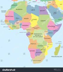 World Map Of Africa by Coloured Political Map Africa Stock Vector 157865516 Shutterstock