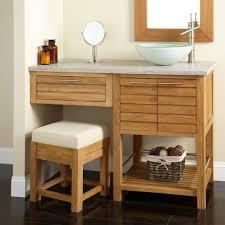 bathroom vanity with makeup table ideas natural pine wood bathroom