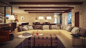 living room basement living room ideas brown polyester sofa