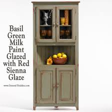 Red Corner Cabinet Corner Hutch Is Finished With Basil Green Milk Paint Not Really
