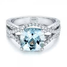 aquamarine and diamond ring custom aquamarine and diamond engagement ring 100895 aquamarine