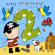 2 year birthday twizler 2nd birthday card for boy with pirate dog and parrots two