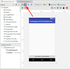 android studio button show hide blueprint design view in android studio activity