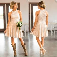 2017 cheap short lace country bridesmaids dresses pearls halter