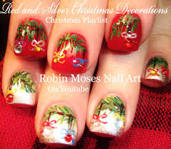 easy christmas nails xmas tree with crystal nail art design