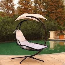 Outdoor Hanging Lounge Chair Beige Lounger Chair Hanging Chaise Porch Deck Patio Swing Hammock
