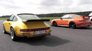 porsche ruf ctr 2017 ruf ctr yellowbird vs porsche 997 gt3 rs with akrapovic exhaust