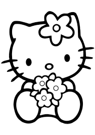 kitty flowers coloring free printable coloring pages