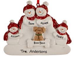snowman family of 4 with personalized ornament