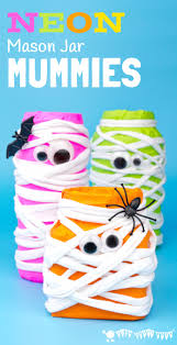 Mason Jar Halloween Neon Mason Jar Mummies Kids Craft Room