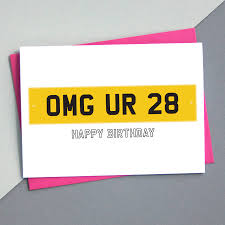 car number plate birthday card personalied by a is for alphabet