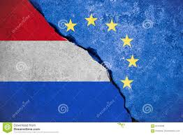 Hollanda Flag Nexit Blue European Union Eu Flag On Broken Wall And Half