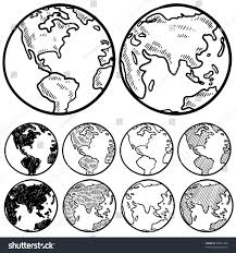 doodle style perspectives on globe sketch stock vector 93831304