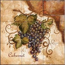 tile mural tuscan grapes i by tre sorelle studios farmhouse