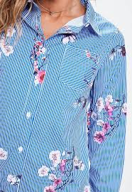 blue stripe blossom print shirt dress missguided