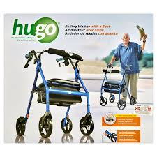 senior walkers with seat hugo portable rollator walker with seat backrest and 8 inch