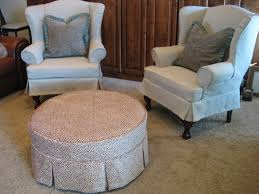 Slipcover Chair And Ottoman Pair Of Wingbacks And A Round Ottoman Slipcovers By Shelley