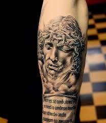 brilliant jesus and text on arm tattooshunter com