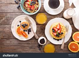 breakfast table royalty free breakfast table with waffles granola 342814394