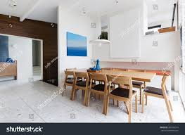 beautiful scandinavian style interior dining room stock photo