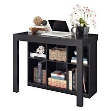 altra parsons style desk with drawer and bookcase black oak
